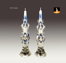 Taper candles. Bleu and gray.