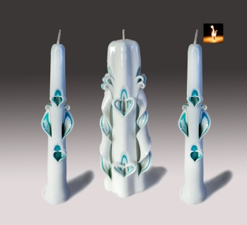 Unity candles set, Teal and white