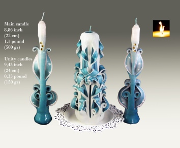 Unity candle set, Turquoise colour