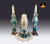 Unity candles set, Turquoise and Gold