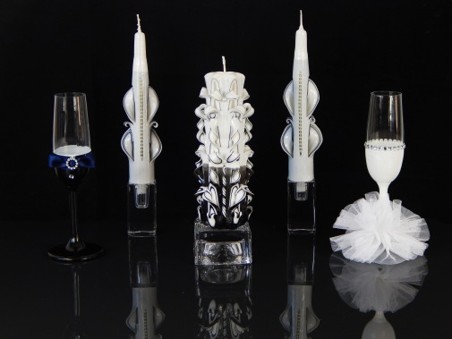 Black White with glass Set 1