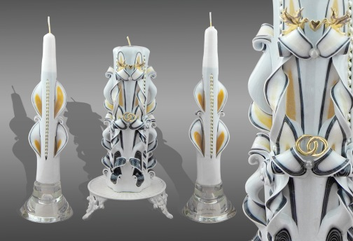 Black and White plus Gold Unity candle set